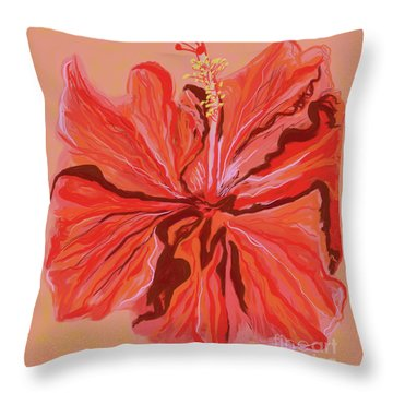 Hibiscus Color Lines Throw Pillow