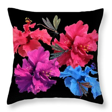 Hibiscus Dragonfly Throw Pillow