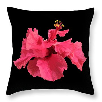 Hibiscus Pink In Black Throw Pillow
