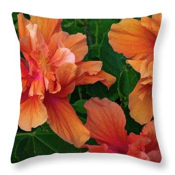 Hibiscus Tripcus Orangus Throw Pillow