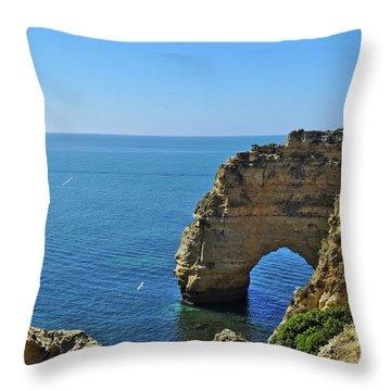 Hidden Arch In Marinha Beach Throw Pillow
