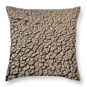 High Angle View Of A Cracked Landscape Throw Pillow
