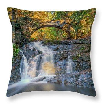 Throw Pillow featuring the photograph High Arch Bridge In Vaughan Woods by Rick Berk