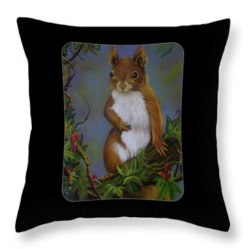 Highland Squirrel Throw Pillow by Janet Silkoff