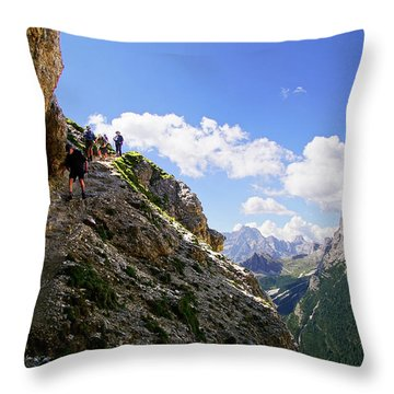 Hikers On Steep Trail Up Monte Piana Throw Pillow