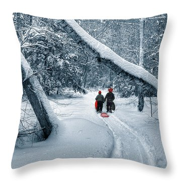 Hiking Into The Gully Throw Pillow