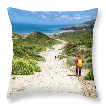 Hiking To Sandfly Bay New Zealand Throw Pillow