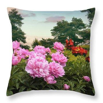Hillside Peonies Throw Pillow