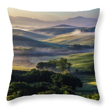 Hilly Tuscany Valley Throw Pillow