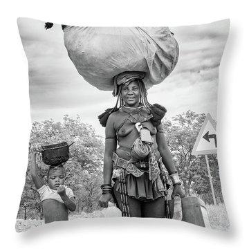Himba Both Carrying  Throw Pillow