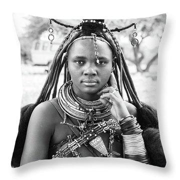 Himba Style Girl Throw Pillow