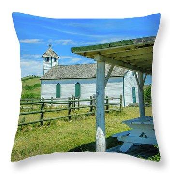 Historic Mcdougall Church, Morley, Alberta, Canada Throw Pillow