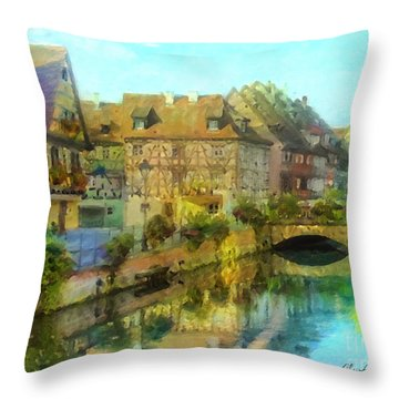 Historic Village On The Rhine Throw Pillow
