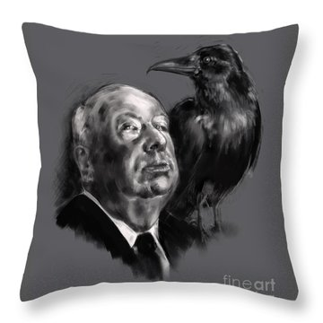 Throw Pillow featuring the digital art Hitchcock by Lora Serra