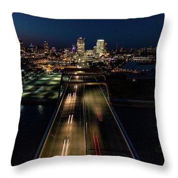 Throw Pillow featuring the photograph Hoan Bridge Streaks by Randy Scherkenbach