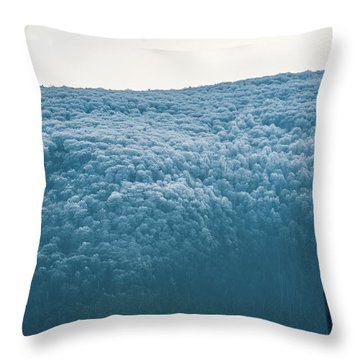 Hoarfrost Blue Mountain Throw Pillow