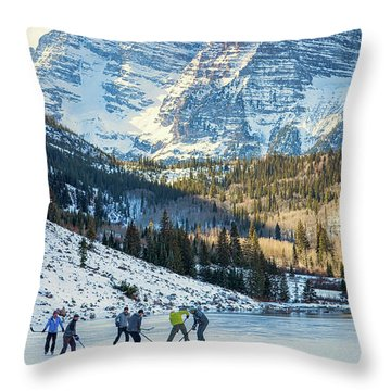 Hockey On Maroon Lake Maroon Bells Aspen Colorado Throw Pillow