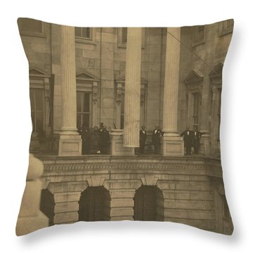 Hoisting Final Marble Column At United States Capitol Throw Pillow