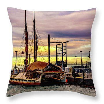 Hokulea Docked Throw Pillow
