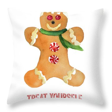 Holiday Gingerbread Man II Throw Pillow
