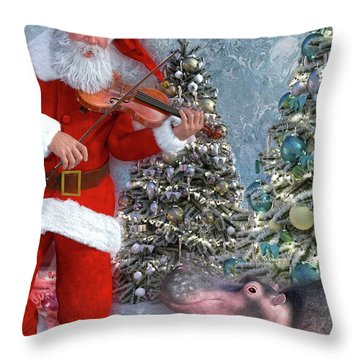 Holiday Hippo Dancing Cheer Throw Pillow