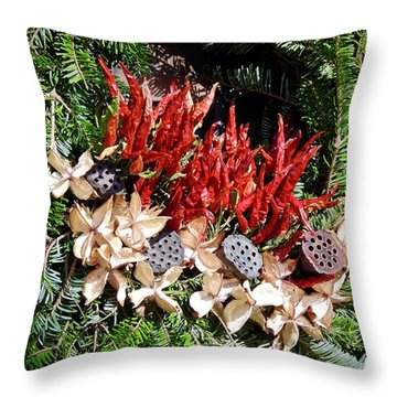 Holiday Peppers Throw Pillow