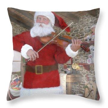 Holiday Santa Playing Violin Throw Pillow
