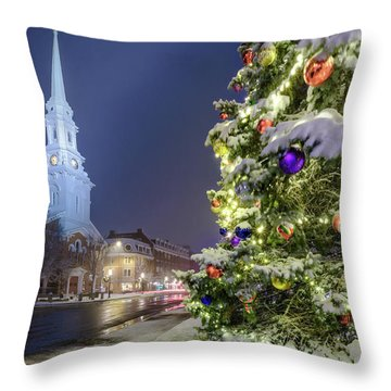 Holiday Snow, Market Square Throw Pillow