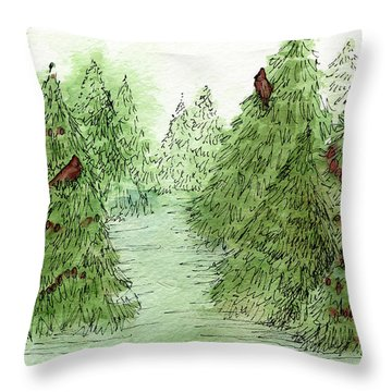 Holiday Trees Woodland Landscape Illustration Throw Pillow