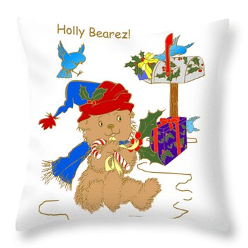 Throw Pillow featuring the mixed media Holly Bearez by Belinda Landtroop