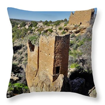 Holly Tower At Hovenweep Throw Pillow