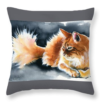 Holy Ginger Fluff - Cat Painting Throw Pillow
