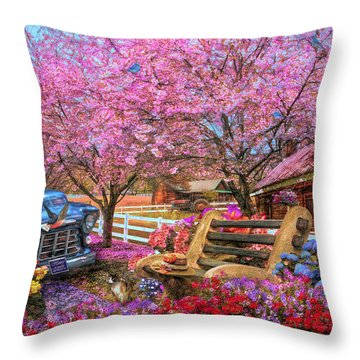Home Is Where The Heart Is Country Painting Throw Pillow