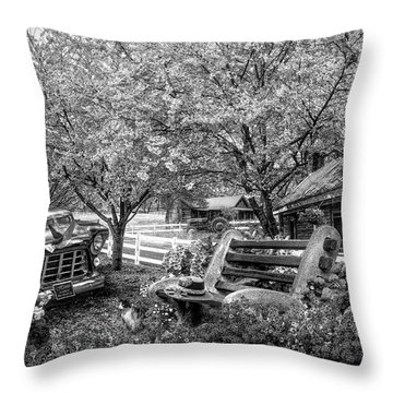 Home Is Where The Heart Is In Black And White Throw Pillow