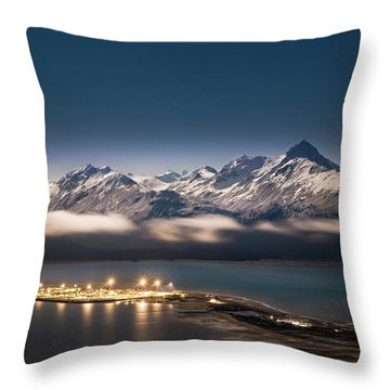 Homer Spit With Moonlit Mountains Throw Pillow