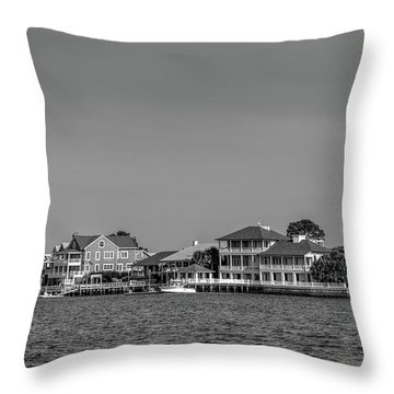Homes Across The Water In Morning In Black And White Throw Pillow