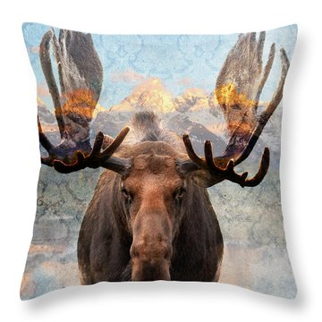 Hometown Moose Throw Pillow