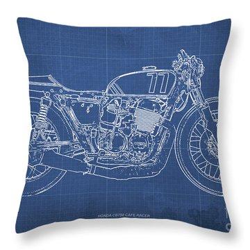Honda Cb750 Cafe Racer Blueprint, Vintage Blue Background Throw Pillow