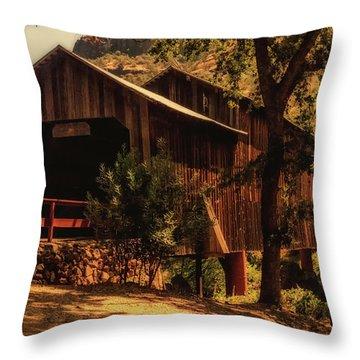 Honey Run Covered Bridge Throw Pillow