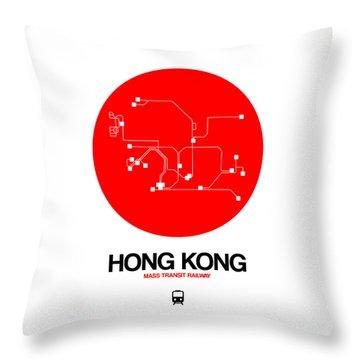 Hong Kong Red Subway Map Throw Pillow
