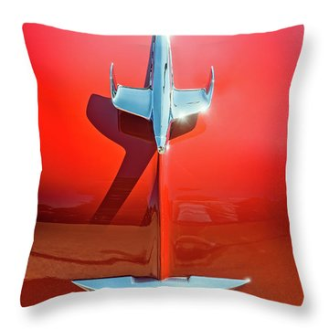 Hood Ornament On A Red 55 Chevy Throw Pillow