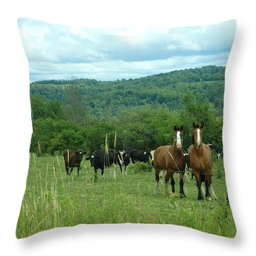 Horse And Cow Throw Pillow