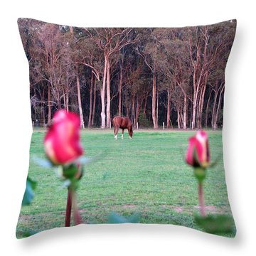 Horse And Roses Throw Pillow