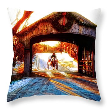 Throw Pillow featuring the photograph Horse Drawn Carriage Covered Bridge Long Grove Il 014060036 by Tom Jelen