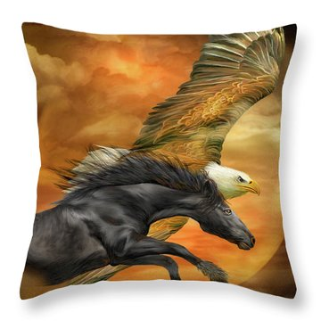 Horse And Eagle - Spirits Of The Wind  Throw Pillow