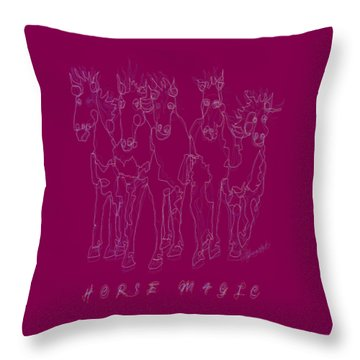 Throw Pillow featuring the digital art Horse Magic Line Drawing Horse Silhouette Design by OLena Art Brand