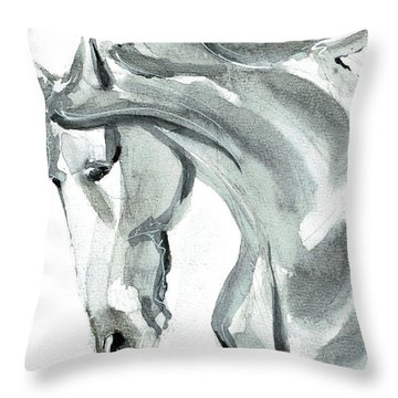 Throw Pillow featuring the painting Horse Silver by Go Van Kampen