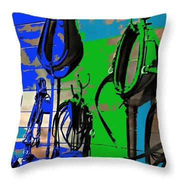 Horse Tack Display Throw Pillow