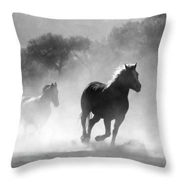 Horses On The Run Throw Pillow