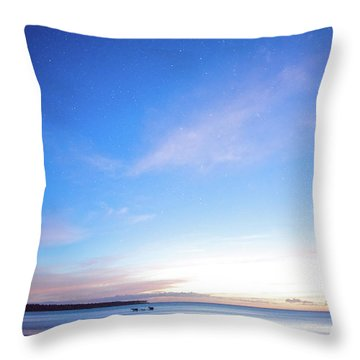 Horses Play In The Surf At Twilight Throw Pillow